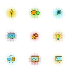 Optimization icons set pop-art style vector image