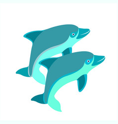 Pair of dolphins vector
