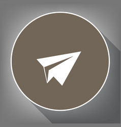 Paper airplane sign white icon on brown vector