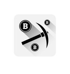 pickaxe with bitcoin sign icon modern web money vector image