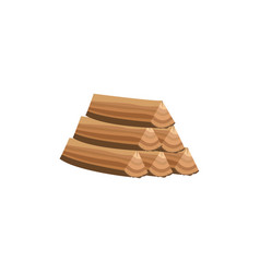 pile wood logs an icon for industry flat vector image