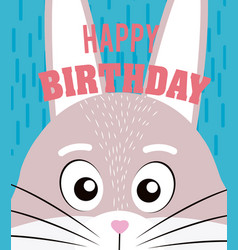 rabbit happy birthday card vector image