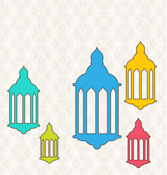 Ramadan kareem background with colorful lamps vector