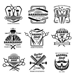 Retro barber shop badges modern haircut vector