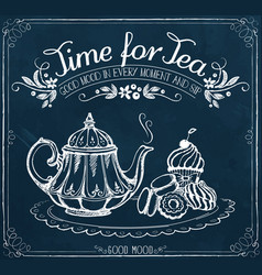 Retro time for tea with teapot and sweet pastries vector