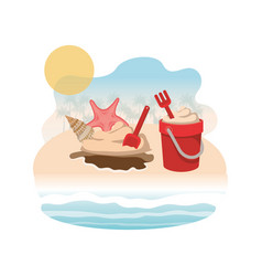 Sand bucket with tools to play vector