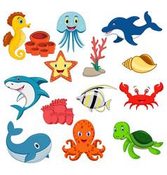sea animals cartoon set vector image