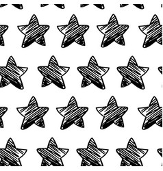 Seamless pattern sketchy star vector