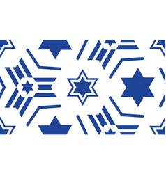 Seamless pattern with a blue star of david vector