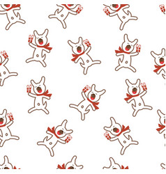 seamless pattern with funny dog and gift vector image