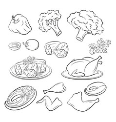 Set food pictograms vector