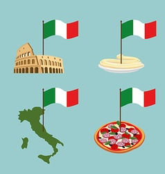 Set icon Italy Flag and map pasta and pizza vector image