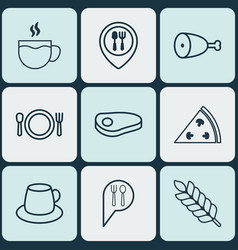 set of 9 restaurant icons includes cutlery check vector image