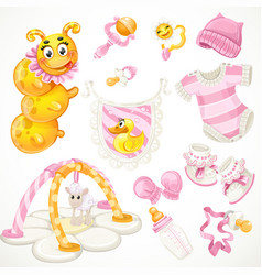 Set pink baby toys objects clothes and things vector