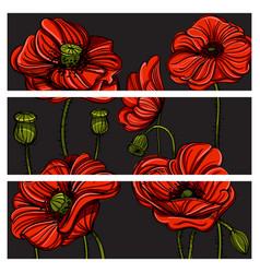 set ve tor horizontal banners with hand drawn vector image