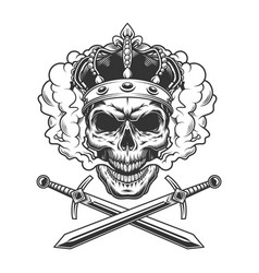 skull wearing crown in smoke cloud vector image