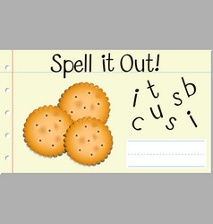 Spell english word biscuit vector