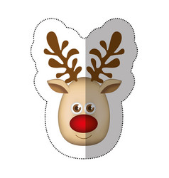 Sticker colorful cartoon cute face reindeer animal vector