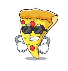 super cool pizza slice character cartoon vector image