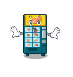 Surprised bakery vending machine in a mascot vector