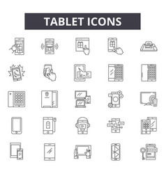 tablet line icons signs set linear vector image