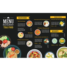 Thai food restaurant menu template flat design vector