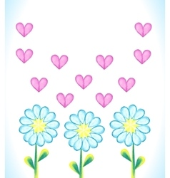 Watercolor daisies and hearts vector