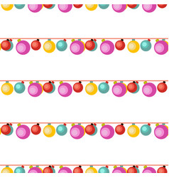 white seamless pattern with colorful garlands vector image