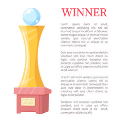 winner golden award statue vector image