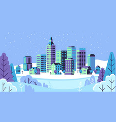 winter simple landscape snowy city panorama vector image