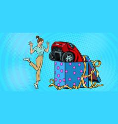Woman surprise car gift vector
