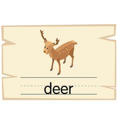 wordcard template for word deer vector image