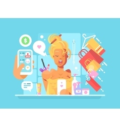 Young woman shopping online vector