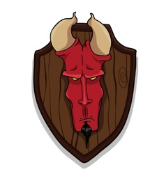Devils head on trophy board vector image