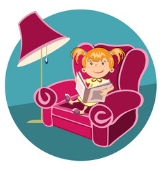 little girl reading a book in an armchair vector image vector image