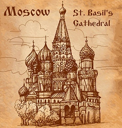 Moscow St Basils Cathedral card vector image