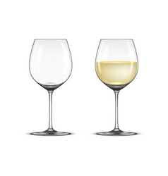 realistic wineglass icon set - empty and vector image vector image