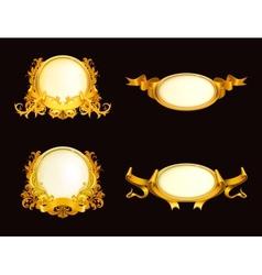 Set of vintage frames on black vector image