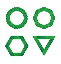 Abstract green geometric infinite loop icon set vector