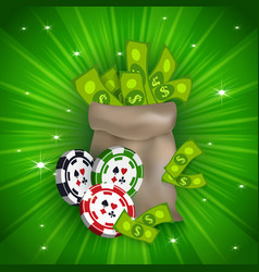 casino banner with tokens and money bag vector image vector image
