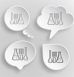 Chemical test tubes White flat buttons on gray vector image