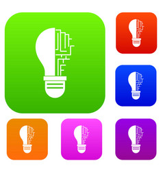 circuit board inside light bulb set color vector image vector image