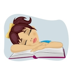 Cute little girl fallen asleep on her book vector image vector image