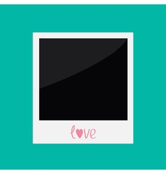 Instant photo with word love in flat design style vector image