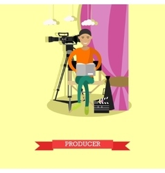 Producer reading screenplay vector