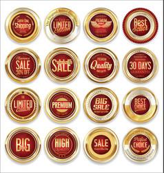 sale retro vintage golden badges and labels 01 vector image vector image