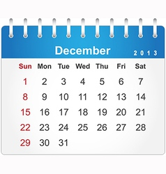 Stylish calendar page for December 2013 vector image vector image
