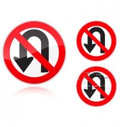 U-Turn forbidden road sign vector image vector image