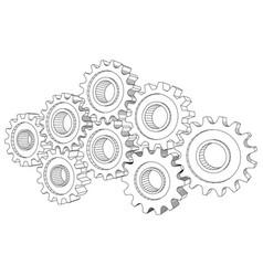 Cog wheel gear mechanism close-up white vector