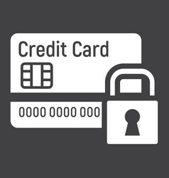 Credit card with padlock solid icon protection vector